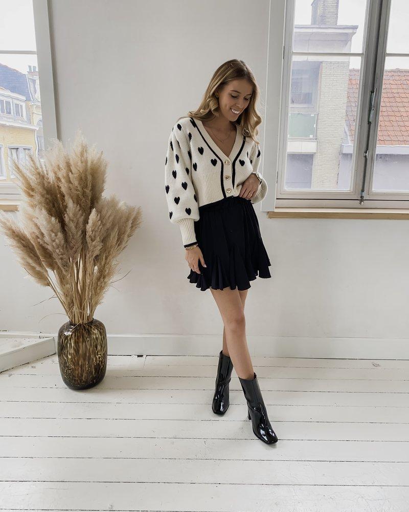 Off White & Black Heart Sweater