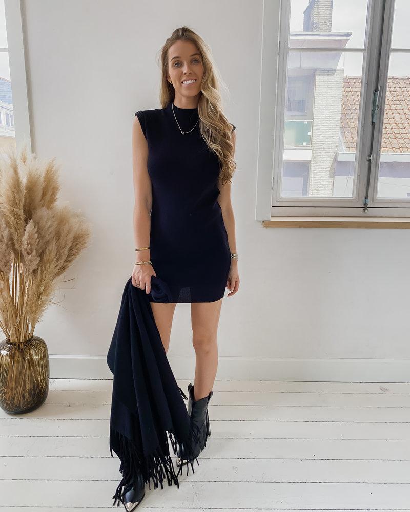 Black Soft Shoulder Dress