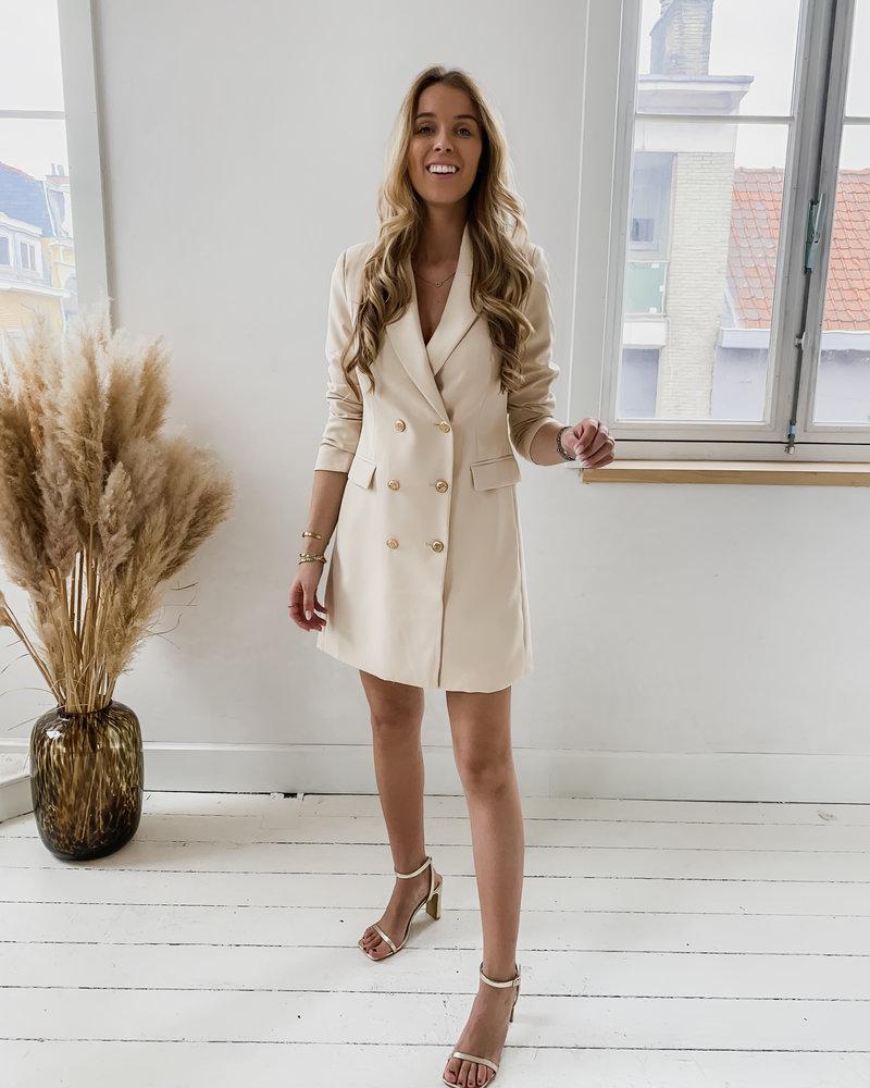 Beige Classic Blazer Dress