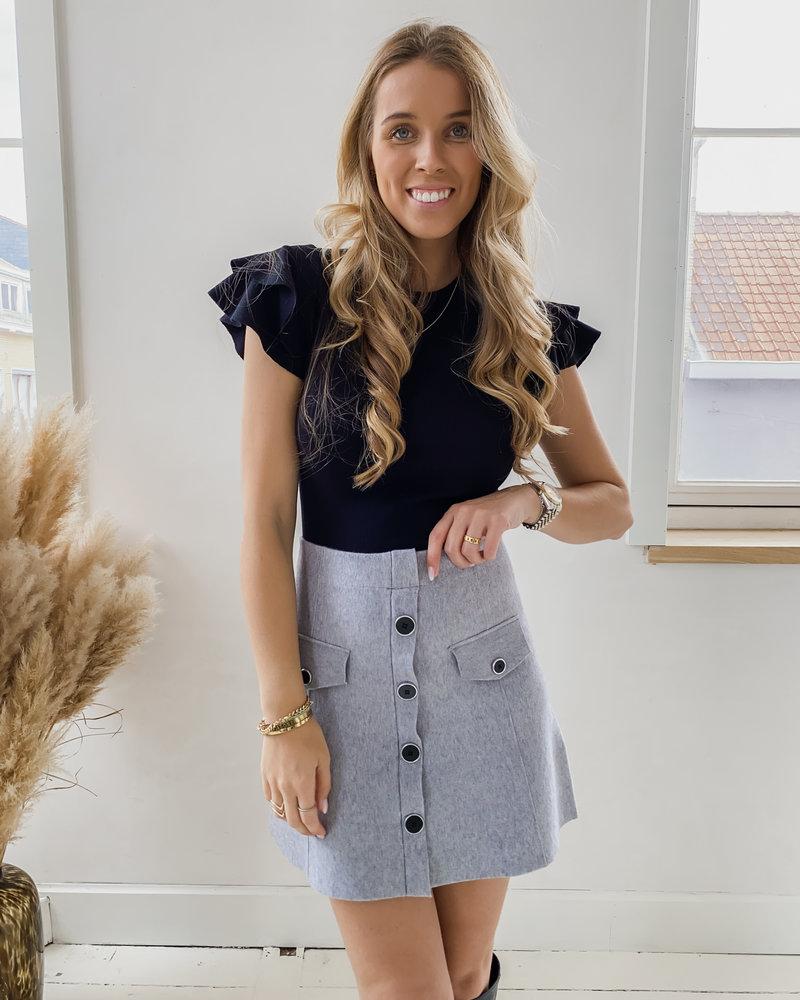 Grey Button Skirt