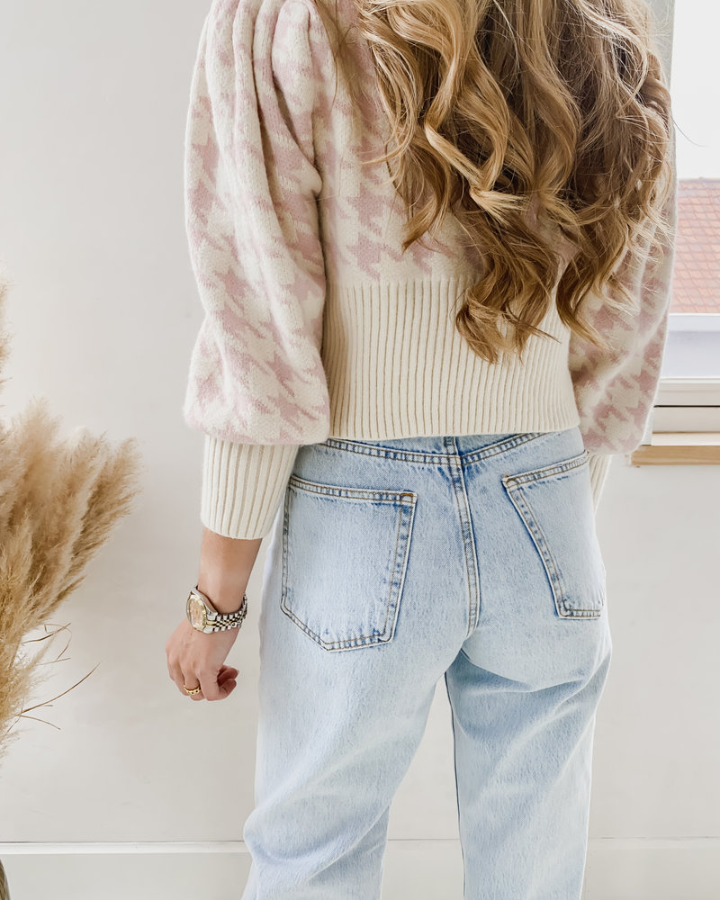 Soft Pink Pied De Poule Sweater