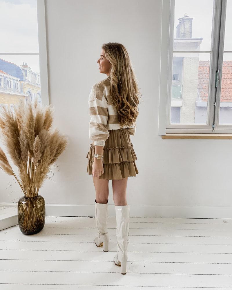 Beige Striped Sweater