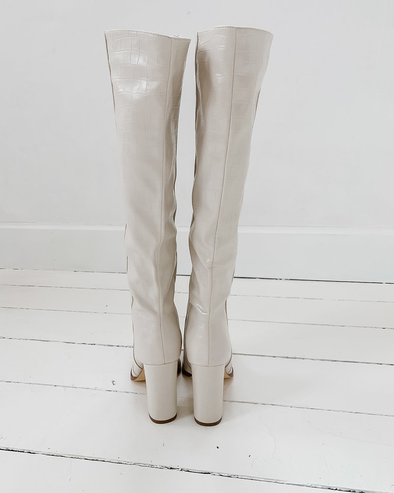 Beige Snake Leather Boots