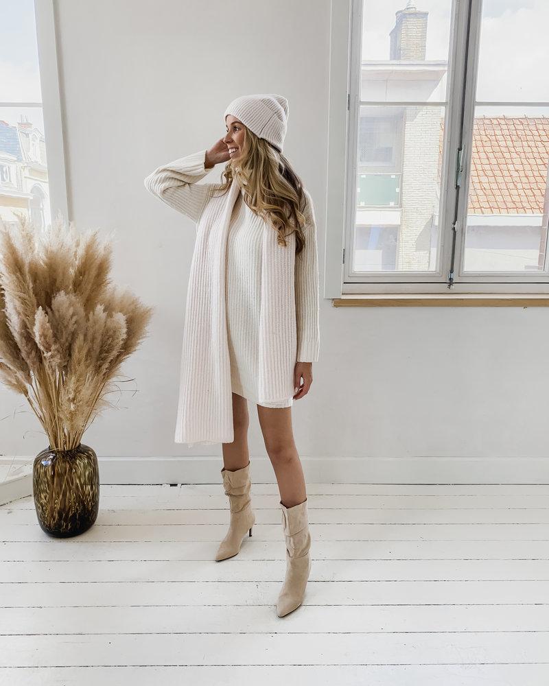 Ecru Crochet Winter Dress