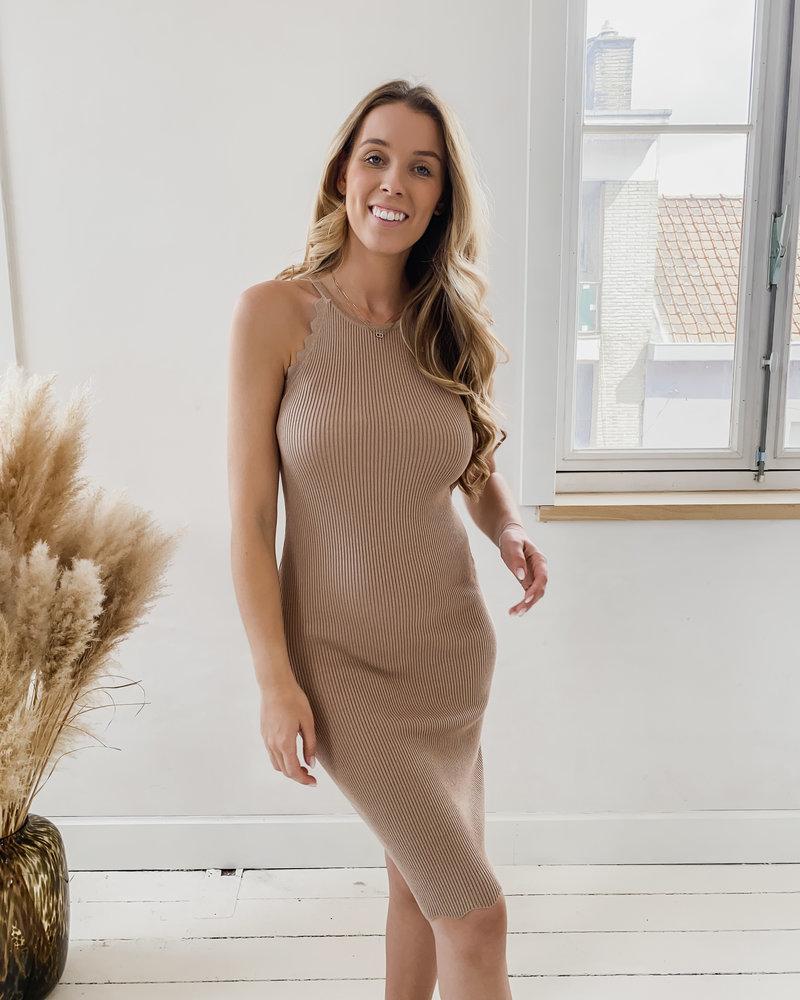 Mokka Detailed Stretch  Dress