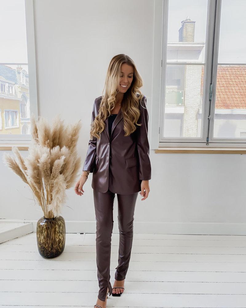 Leather Chocolat Trouser