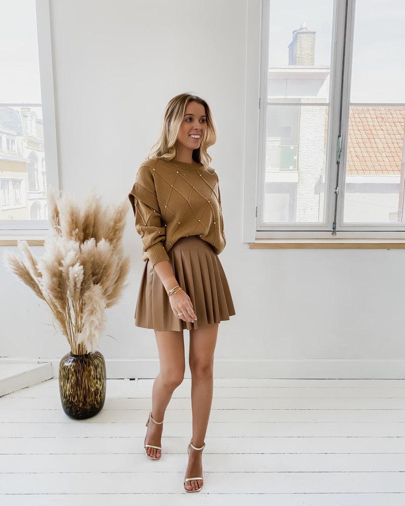 Brown Leather Plissé Skirt