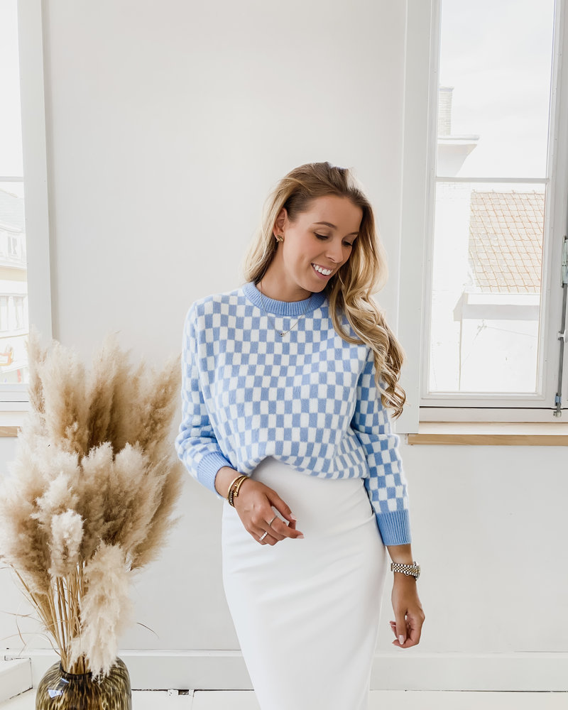Blue Checked Sweater