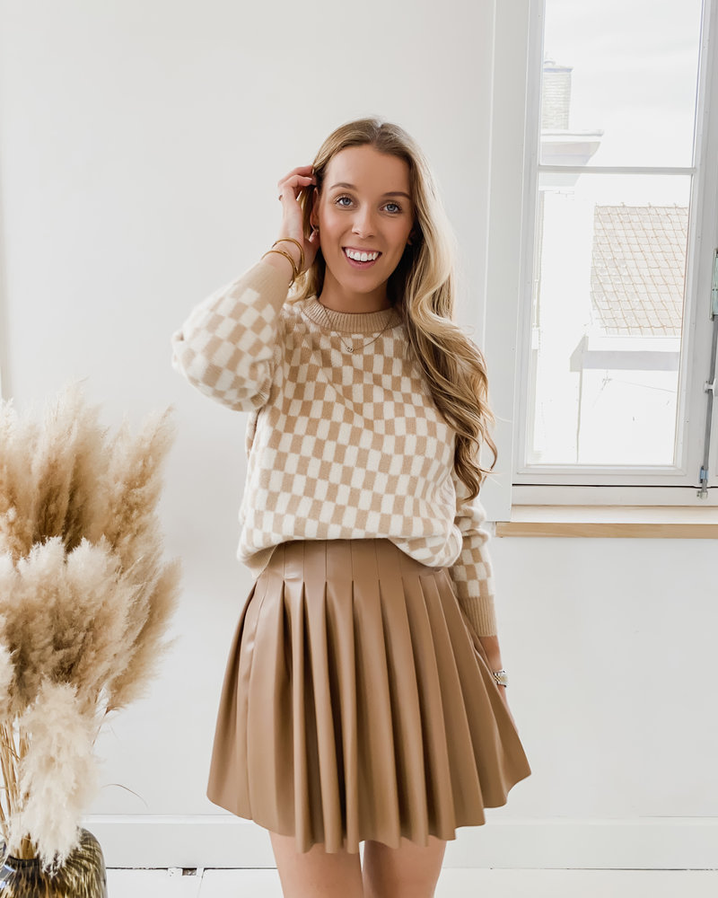 Camel Checked Sweater