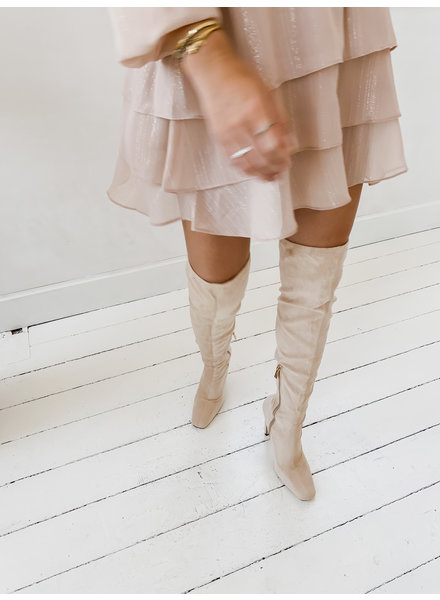 Beige Overknee Boots
