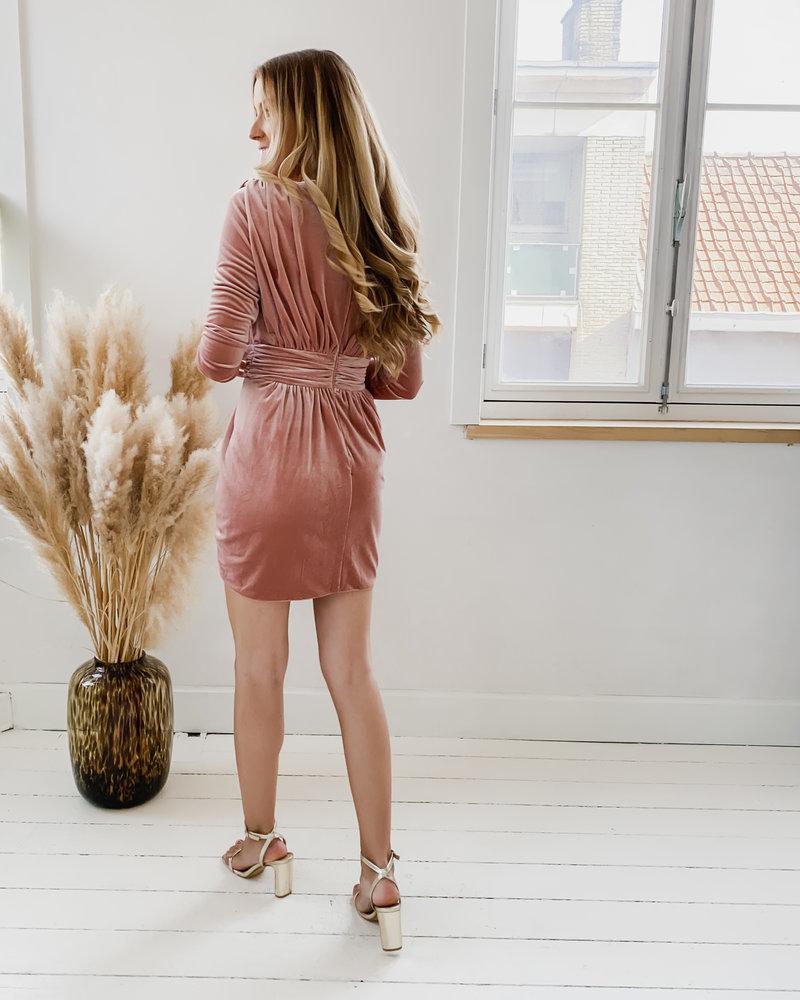 Pink Velvet Deep V Dress
