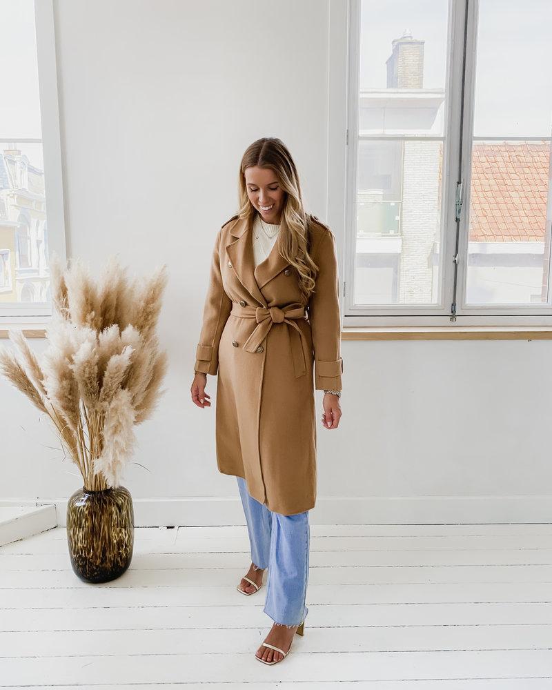 Camel Soft Button Coat