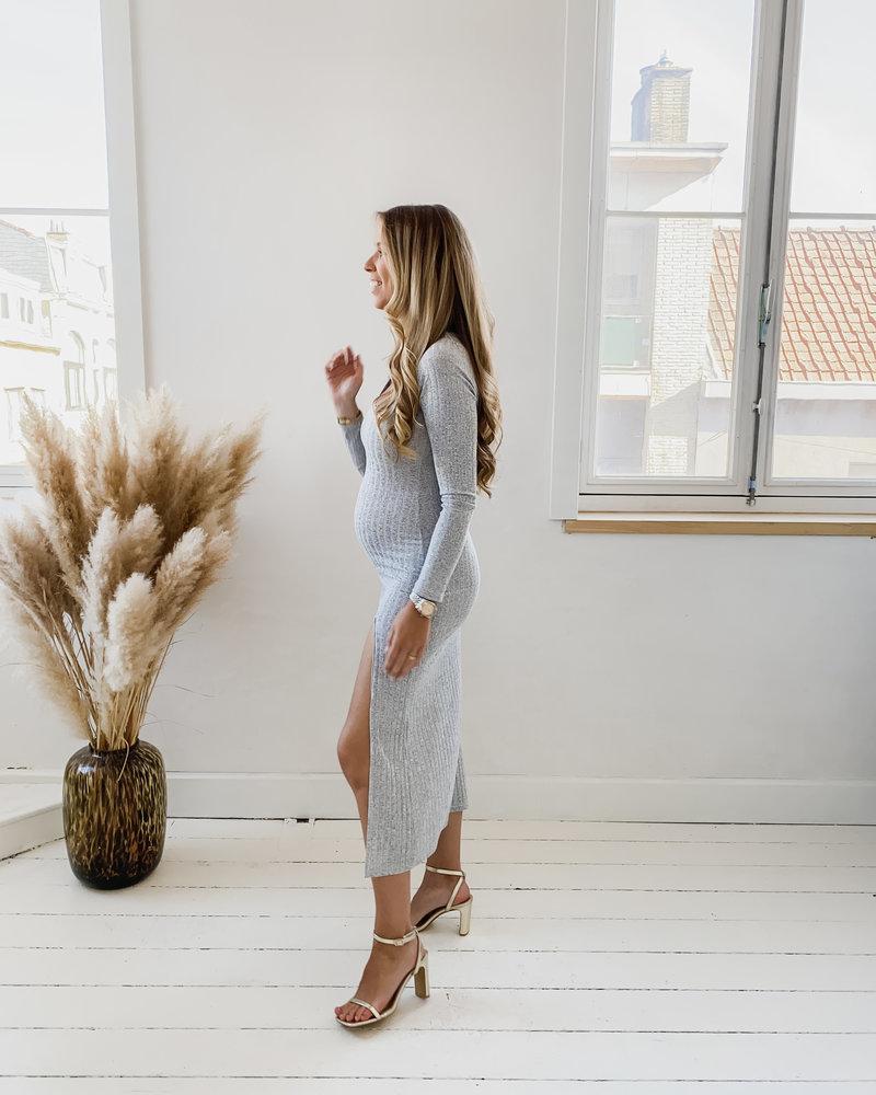 Autumn Grey High Split Dress Long Sleeve