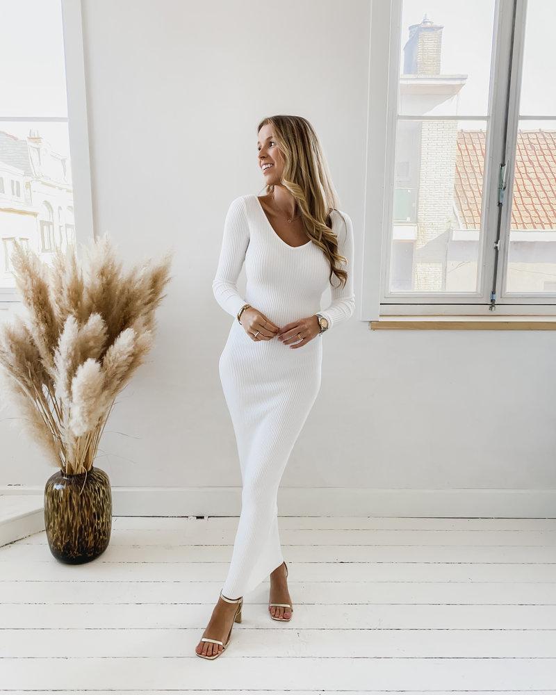 White Long Deep V Stretch Dress