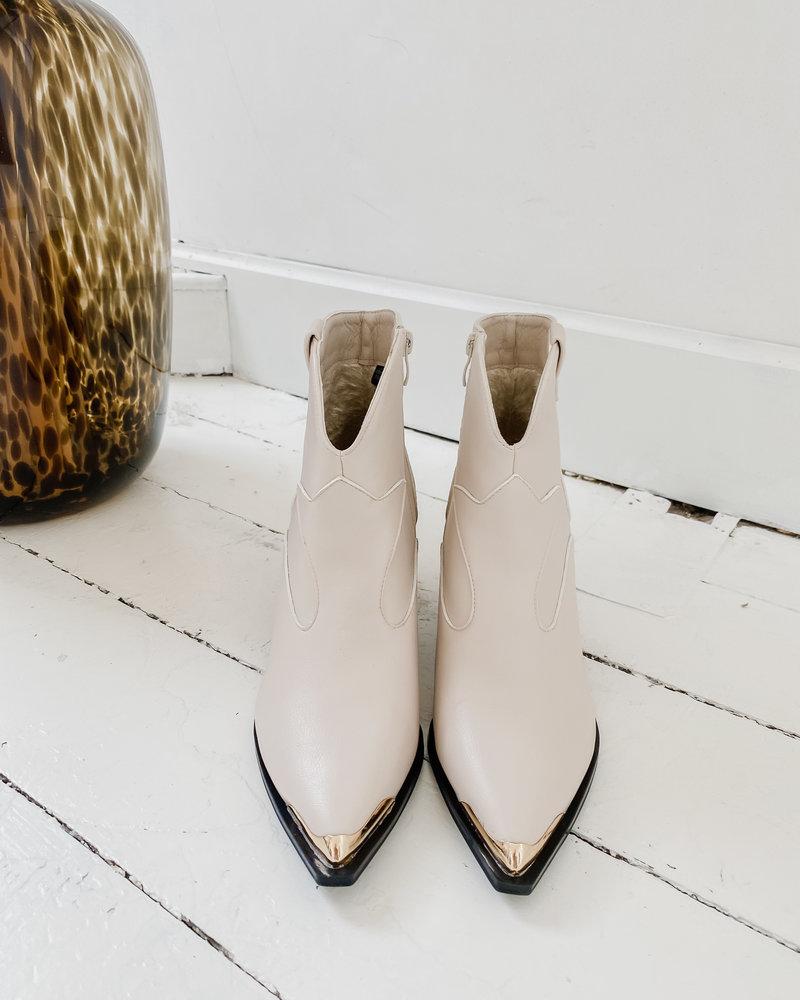 Beige Short Golden Detail Boots