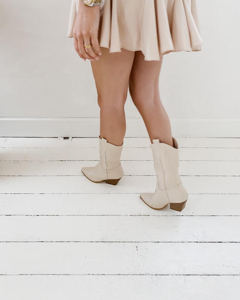 Beige Long Cowboy Boots