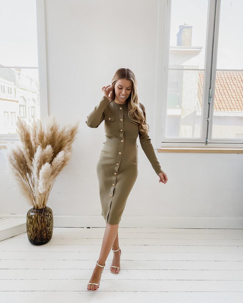 Army Golden Button Dress