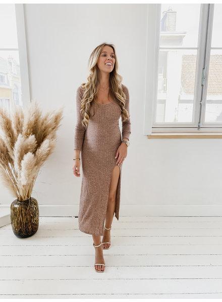 Autumn Brown Split Dress