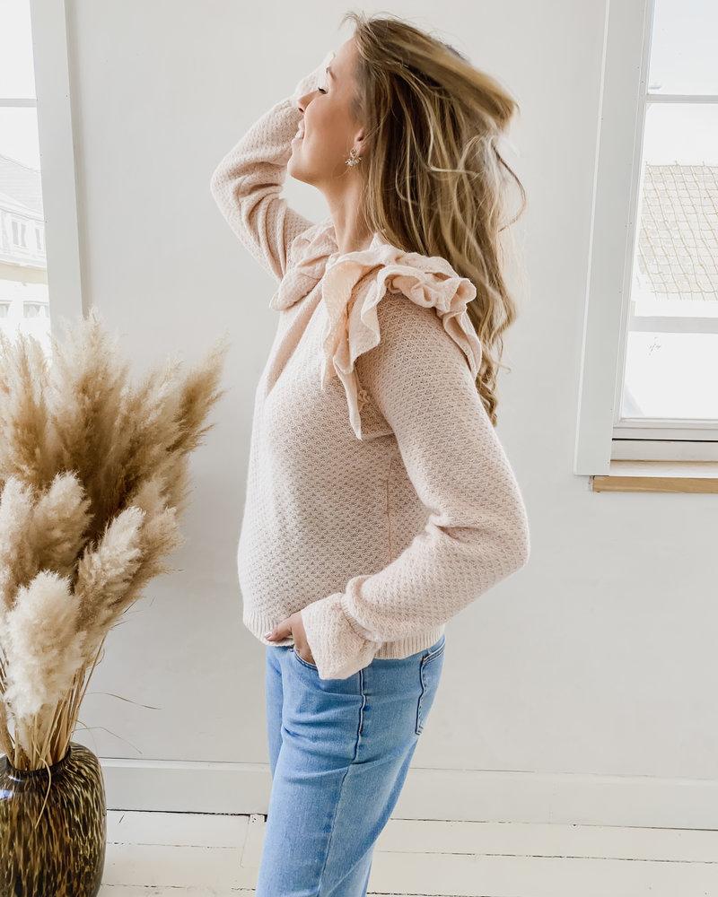 Soft Pink Ruffle Sweater
