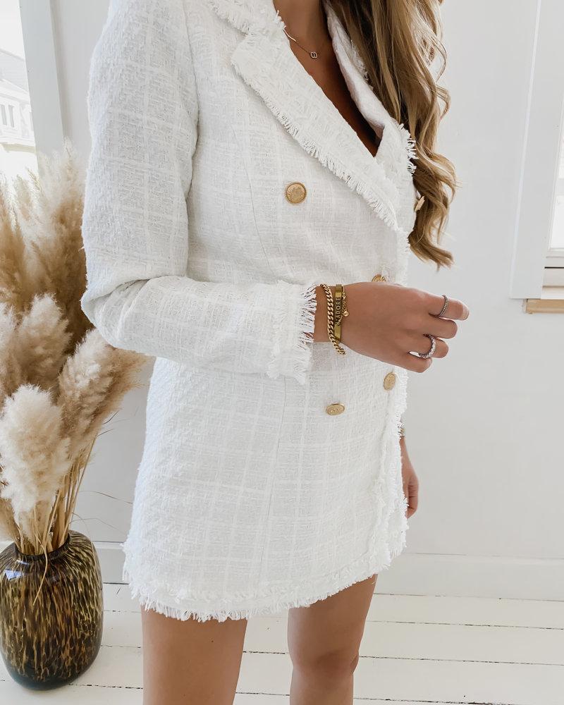 White Long Chanel Inspired Blazer Dress