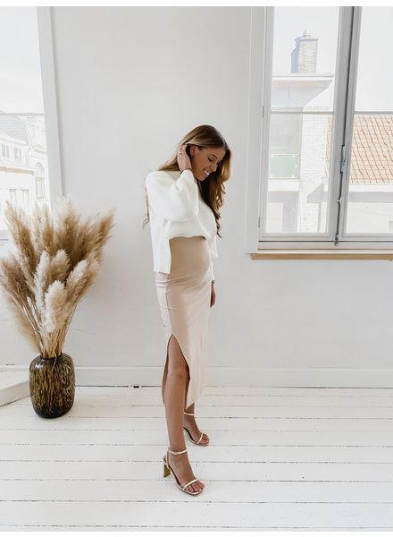 Beige Long Classic Skirt