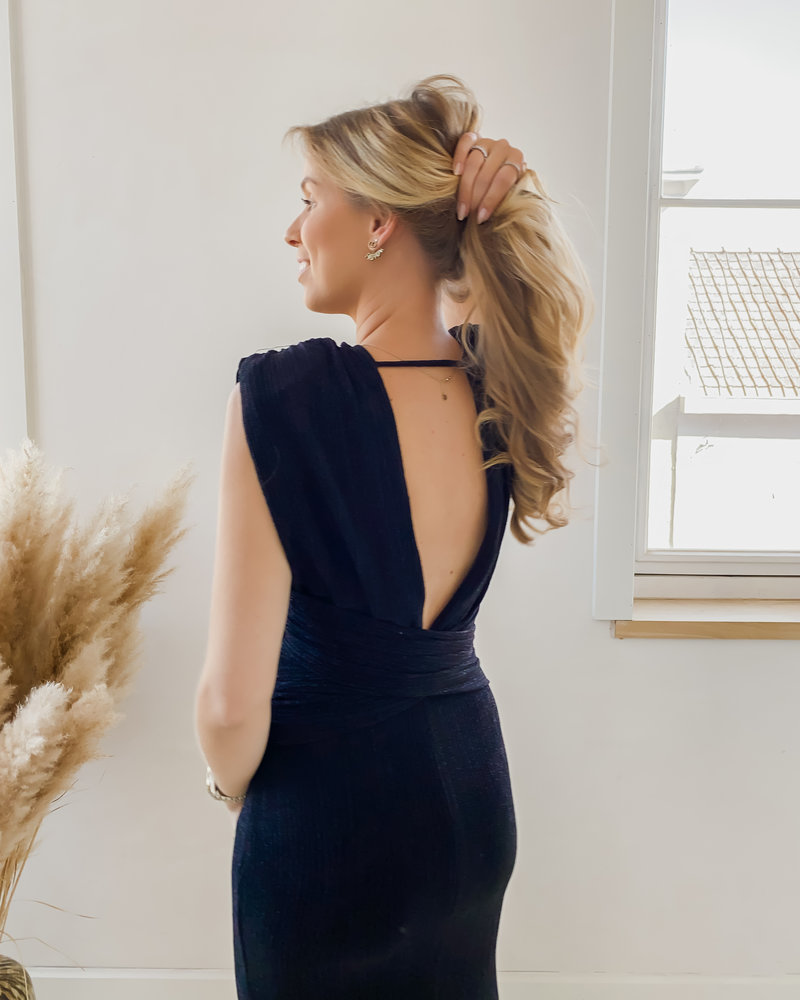 Black Sparkle Twist Front Dress