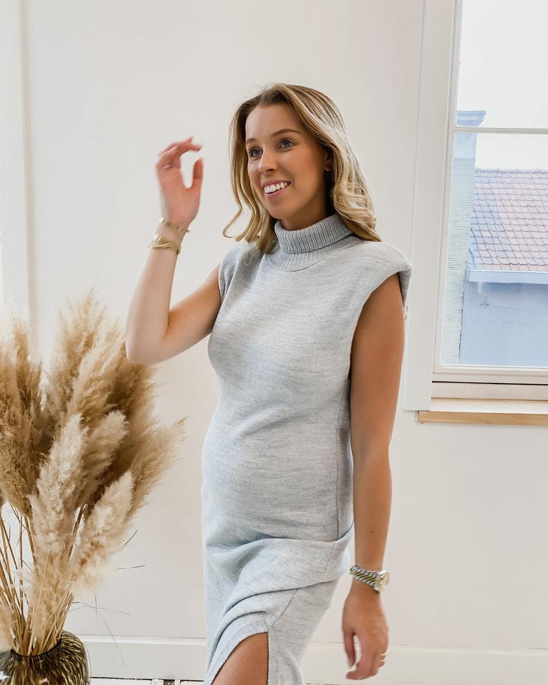 Grey Padded High Neck Midi Dress