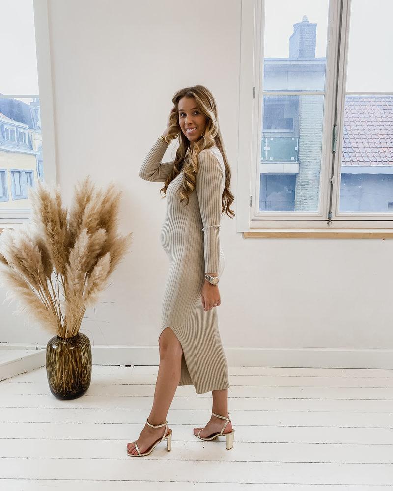 Beige Elegant Autumn Split Dress