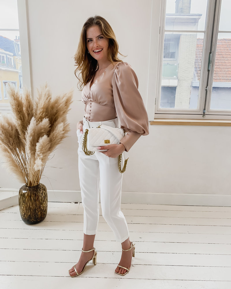 Pink Champagne Button Big Sleeve Blouse
