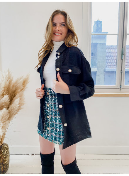 Classy Black Pearl Button Jacket