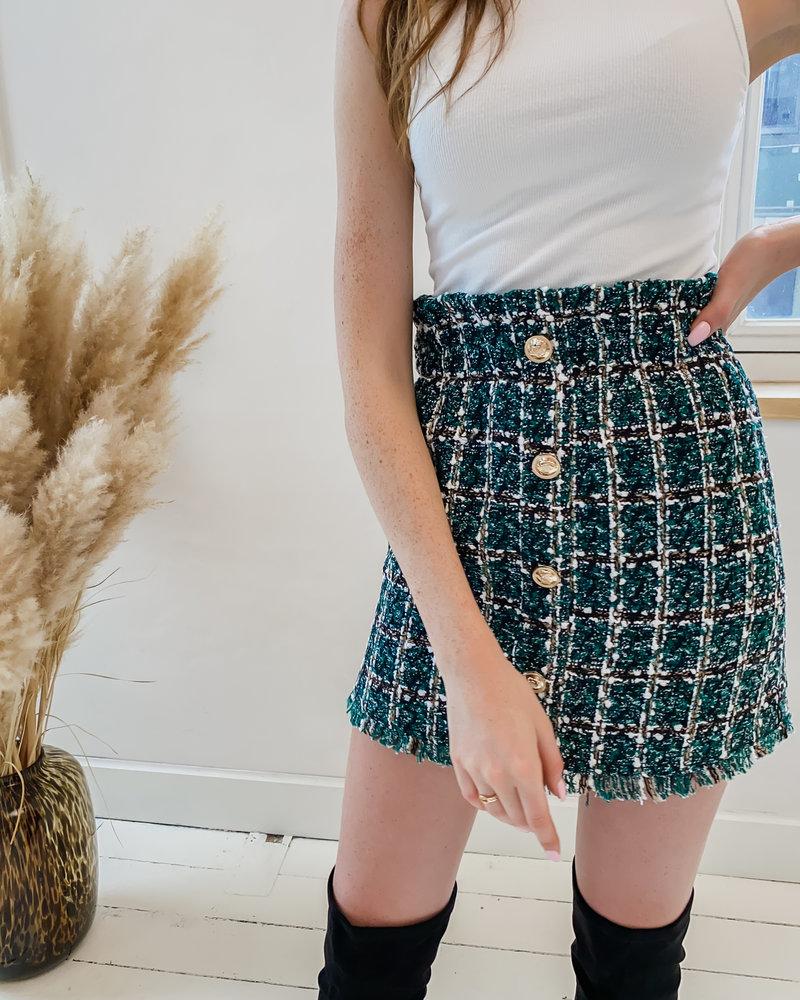 Green Detail Golden Button Skirt