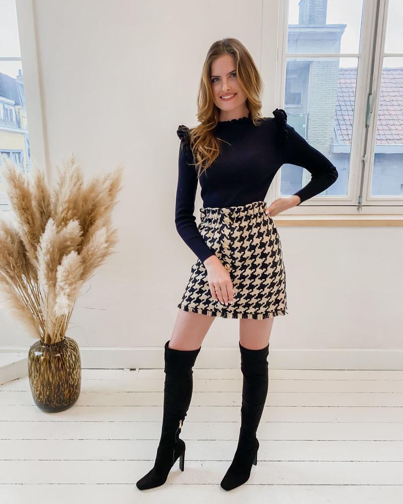 Black/Camel Pied De Poule Golden Button Skirt