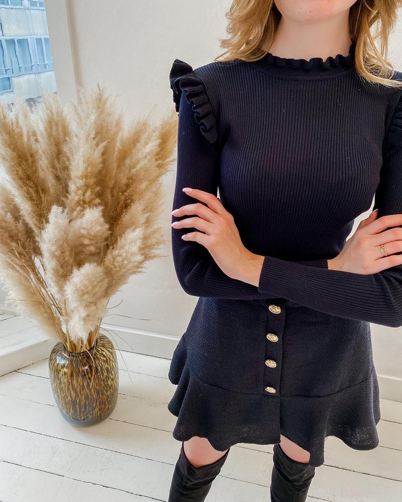 Black Ruffle Stretch Sweater