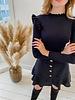 Black Girly Golden Button  Skirt