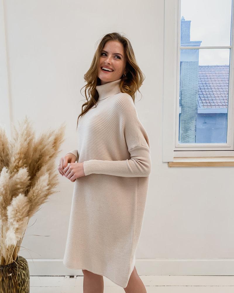 Beige Stretch Sleeve Dress