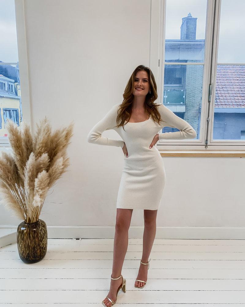 Beige V Short Ribbel Dress