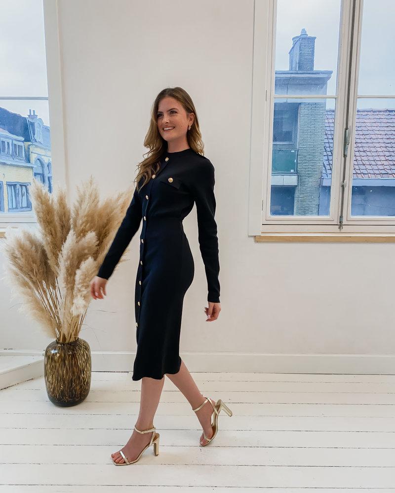 Black Golden Button Dress