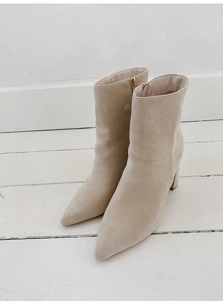 Short Beige Suede Boots Block Heel