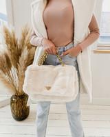 Crème Faux Fur Bag