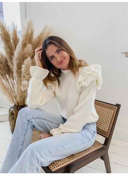 Ecru Ruffle Sweater