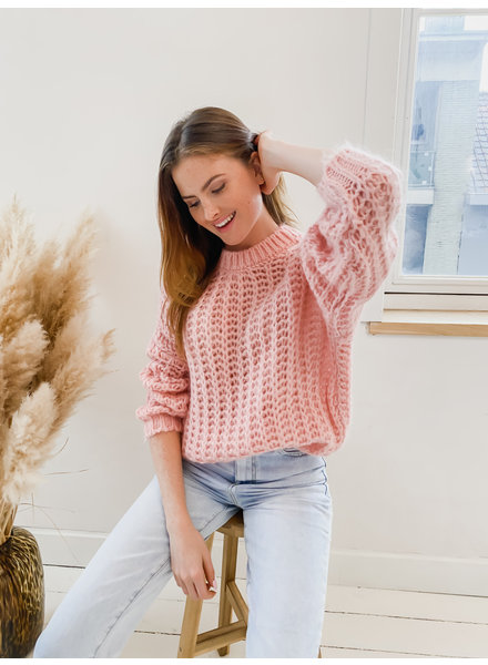 Pink Cabel Mohair Sweater
