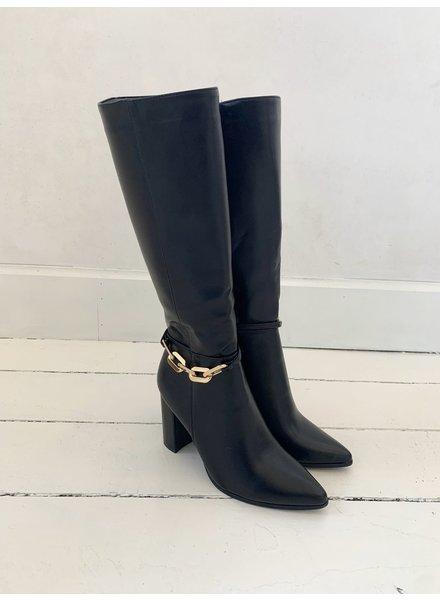Black long Classy Golden Chain Boots