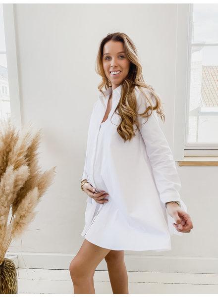 White Bow Cotton Dress