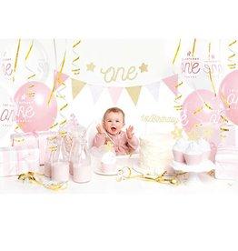 PartyDeco Partybox roze & goud | meisje 1 jaar