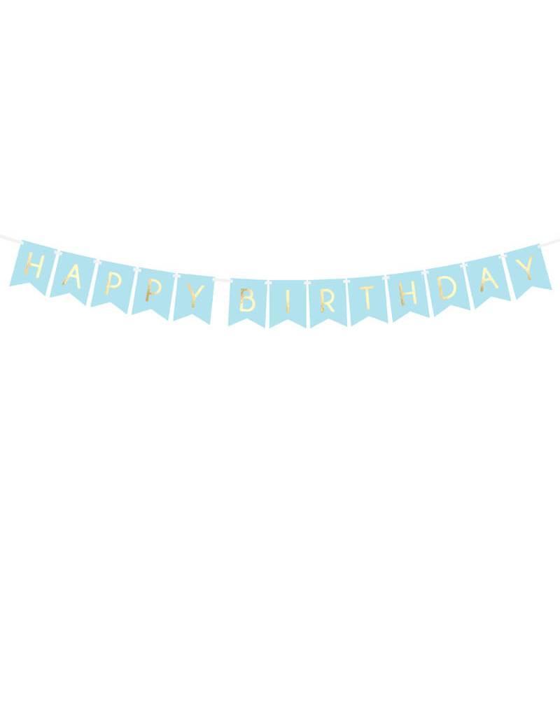 PartyDeco Blauwe slinger 'Happy birthday'