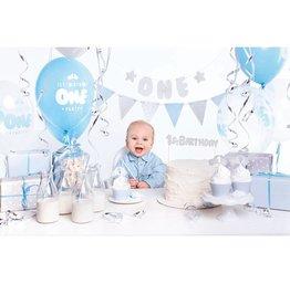 PartyDeco Partybox blauw & zilver jongen 1 jaar