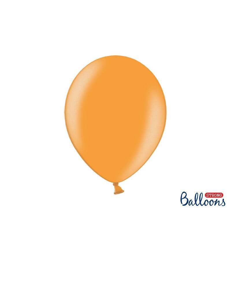 Strong Balloons Ballonnen metallic oranje (30 cm) | 10 stuks