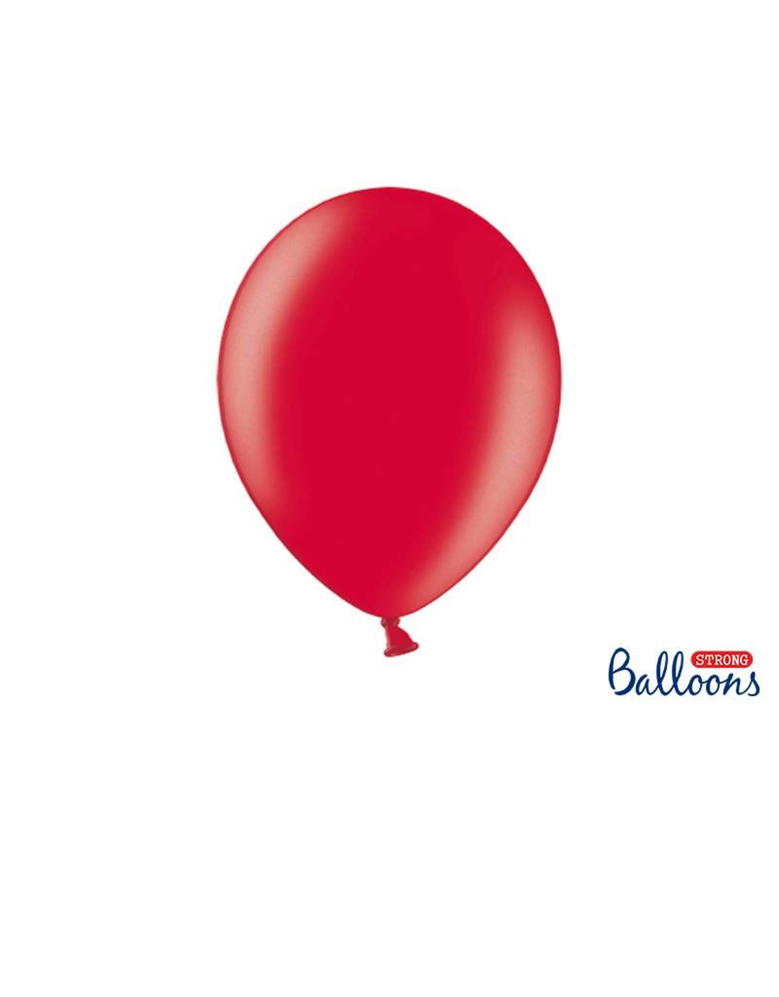 Strong Balloons Ballonnen metallic rood (30 cm) | 10 stuks