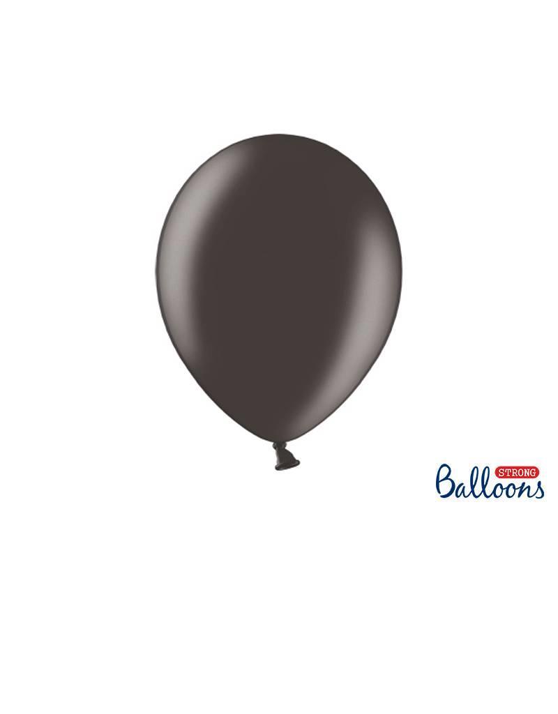 Strong Balloons Ballonnen metallic zwart (30 cm) | 10 stuks