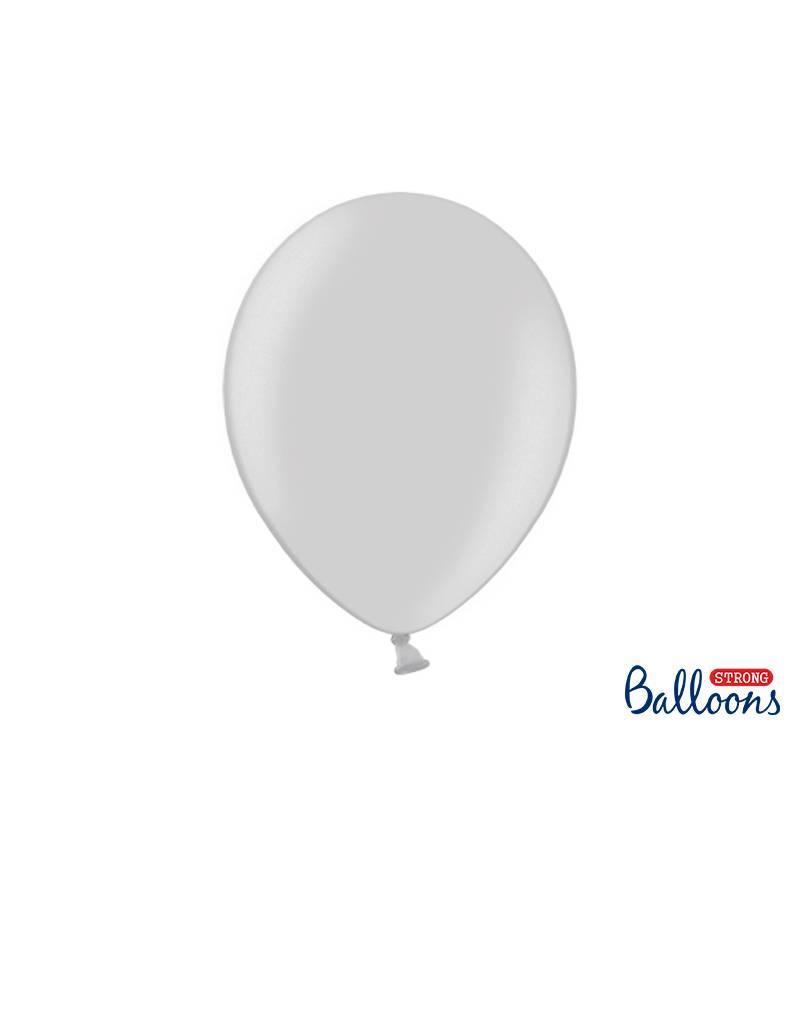 Strong Balloons Ballonnen metallic zilver (30 cm) | 10 stuks